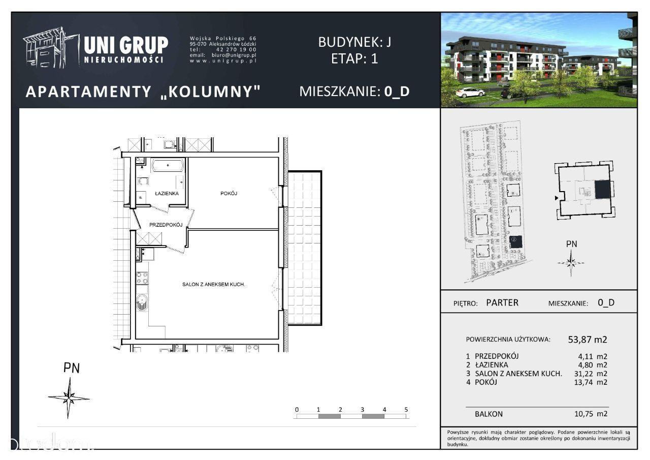 2 pokoje - Lokal D - PARTER - budynek J - etap I