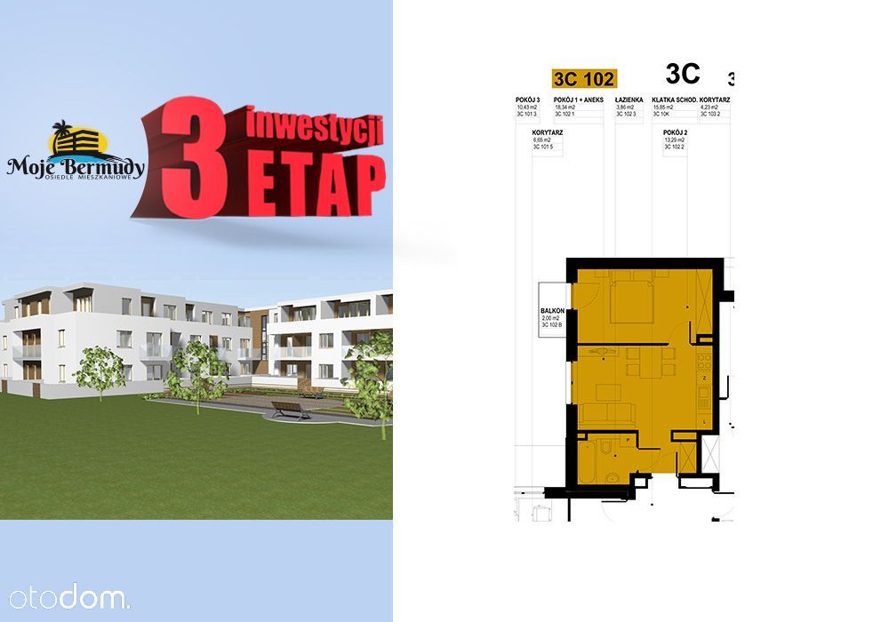 Mieszkanie 2 pokoje 35,49 m2 z balkonem; 3C 102