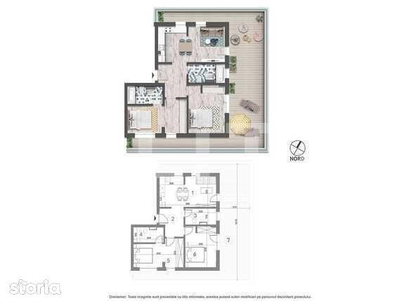 Vanzare apartament de 3 camere, 64.3 mp utili, TERASA spatioasa!