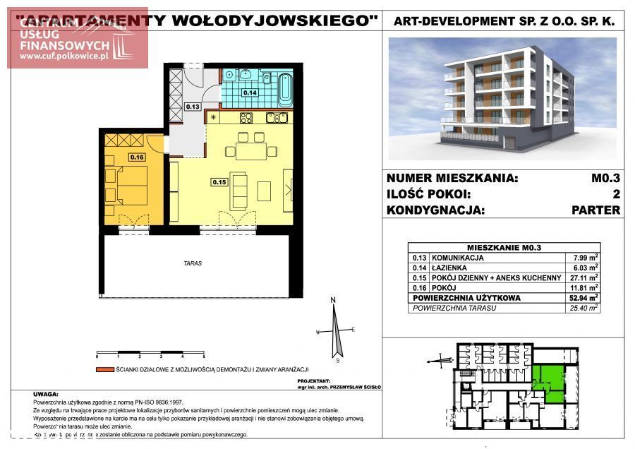 Nowe budownictwo 52,94 m2, Wołodyjowskiego, Polk