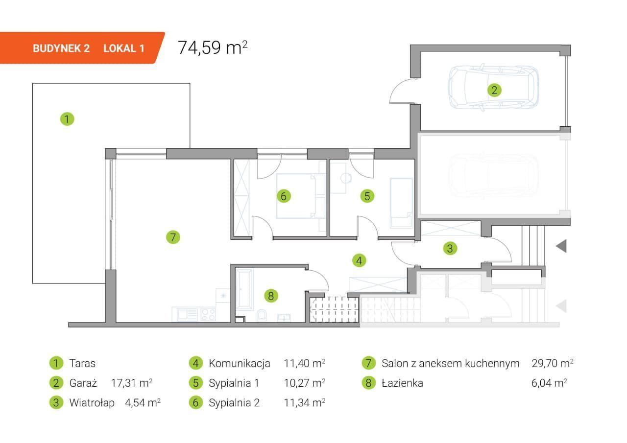 Mieszkanie na parterze 74 m2