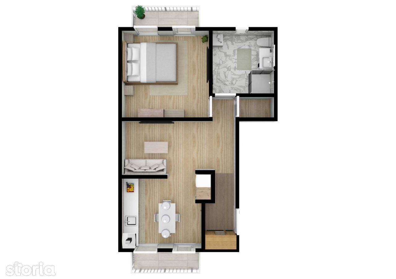 42mp utili- etaj 1 | Apartament 2 Camere | Calea Cisnadiei