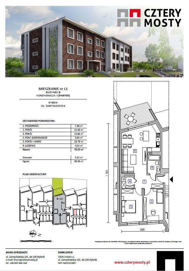 *** Nowe mieszkanie 70,55 m2 z ogrodem, 3 pokoje *