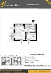 SŁONECZNA16 Mieszkanie A1.1 51,57 m2 Aleksandrów K