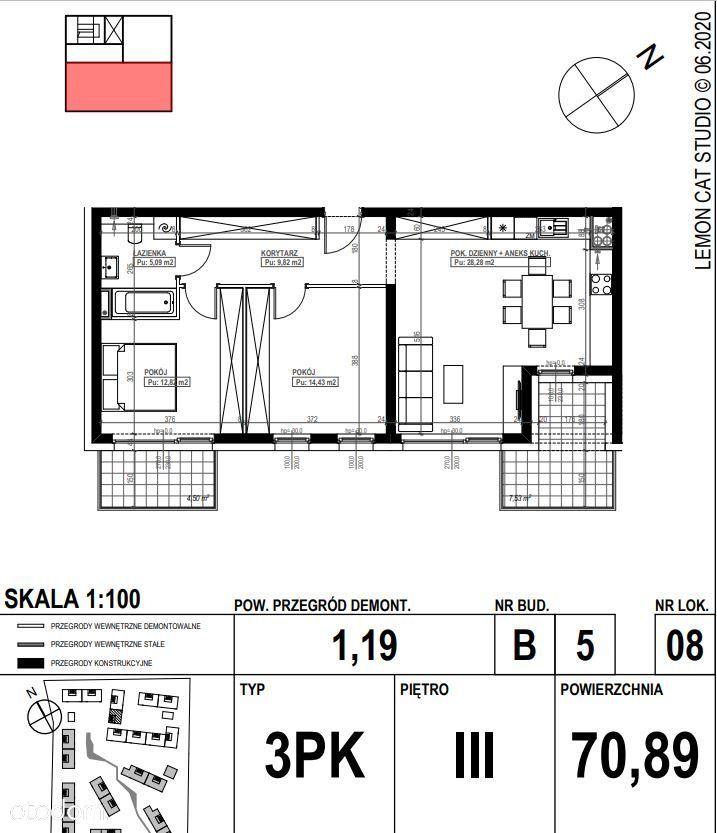 Podolany Nowy Blok 3 pokoje 70m2+2 balkony