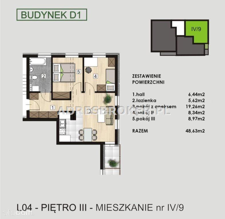 Mieszkanie, 48,63 m², Knurów