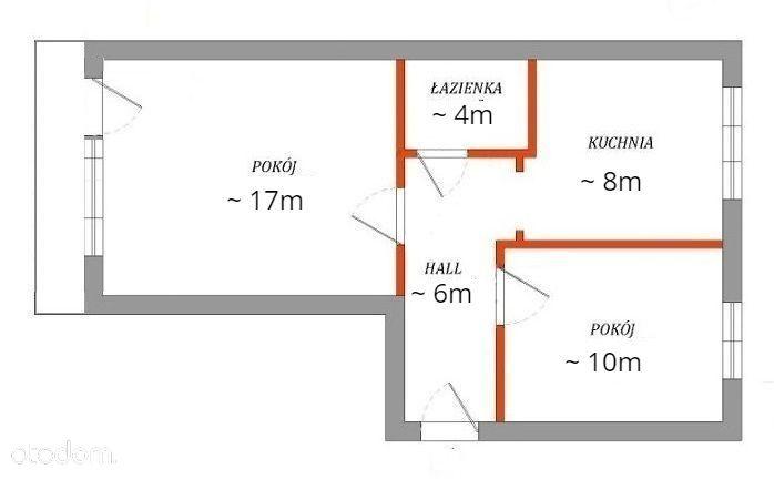 Mieszkanie 2-pok+kuchnia ścisłe centrum 44,96m.kw.