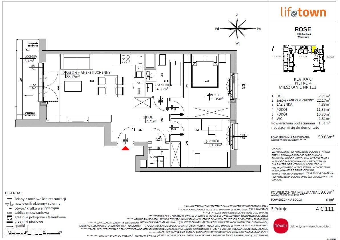 3 pokojowe rozkładowe mieszkanie 4 PIĘTRO 4C111