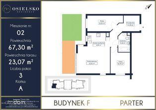 3 pokoje Osielsko z tarasem i ogródkiem 67 m2