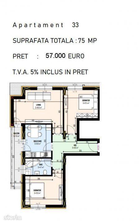 Apartament decomandat 3 camere, bucatarie inchisa-57.000 euro, Cristal