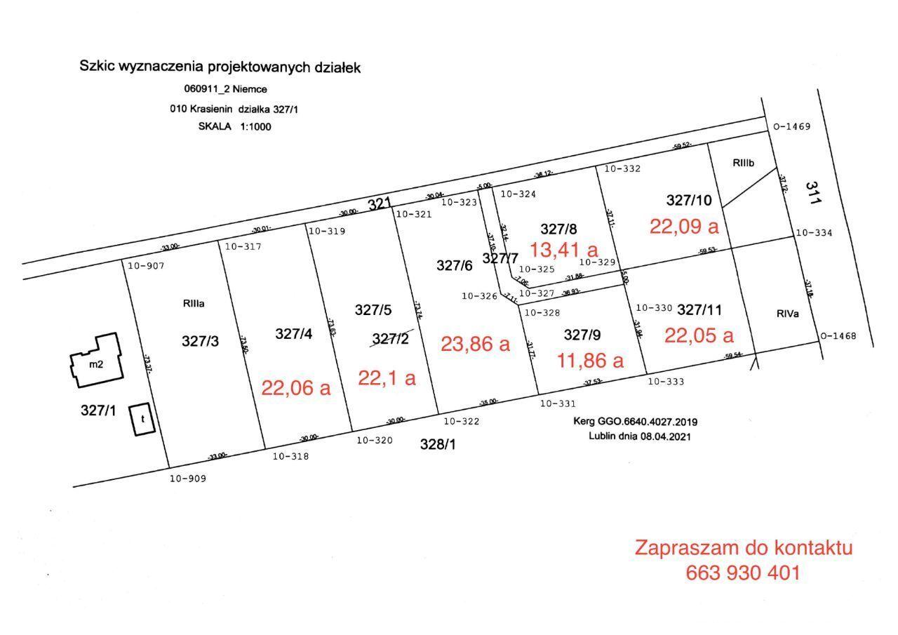Działka budowlana w Krasieninie (11 km od Lublina)