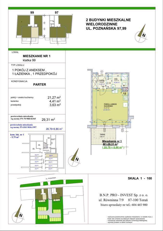Poznańska 99. Mieszkanie 29,31 m2 z tarasem