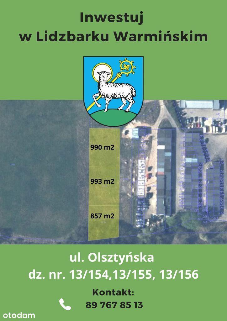 Działka, 857 m², Lidzbark Warmiński