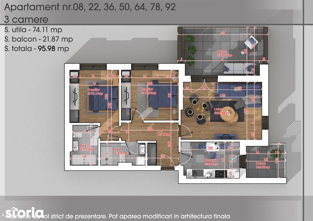 Aartament 3 camere New Parc Titan-Teilor