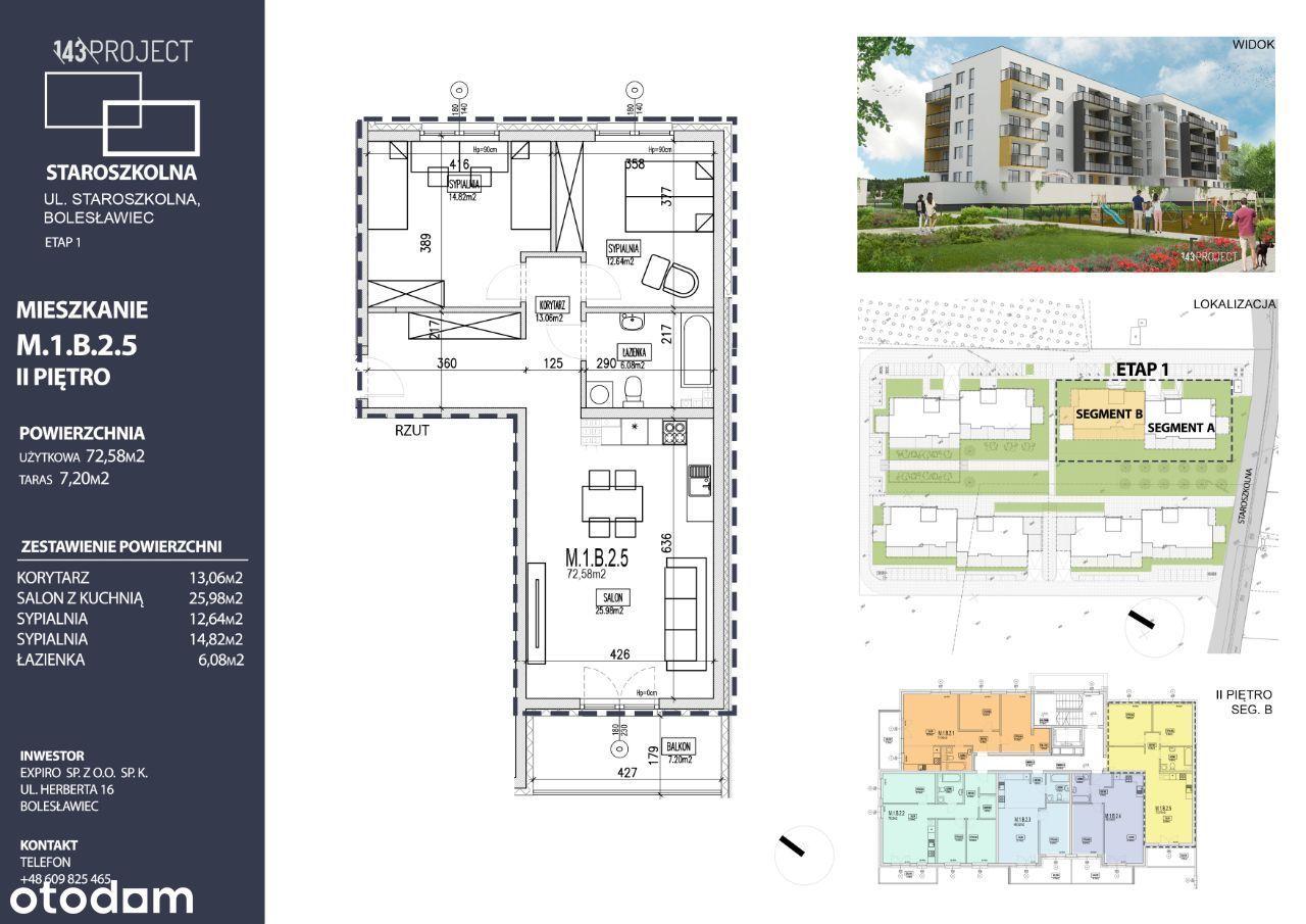 Nowe mieszkanie, 3-pokojowe, ul. Staroszkolna,72m2