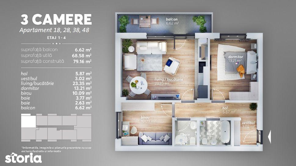 Apartament 3 camere, FINALIZAT, Loc de joaca, Acte gata