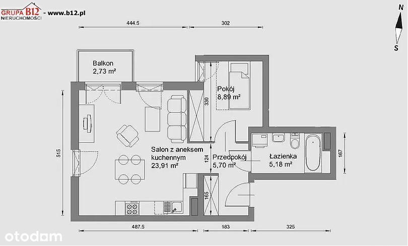2 pokoje, Złocień, 43 m2, II p z III,