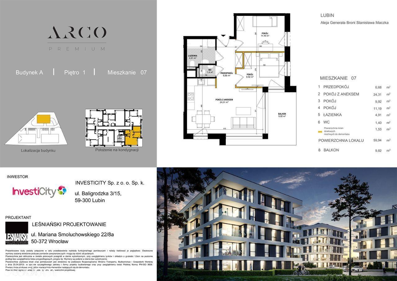 ARCO Premium - 59,94m2, 3 pokojowe, loggia