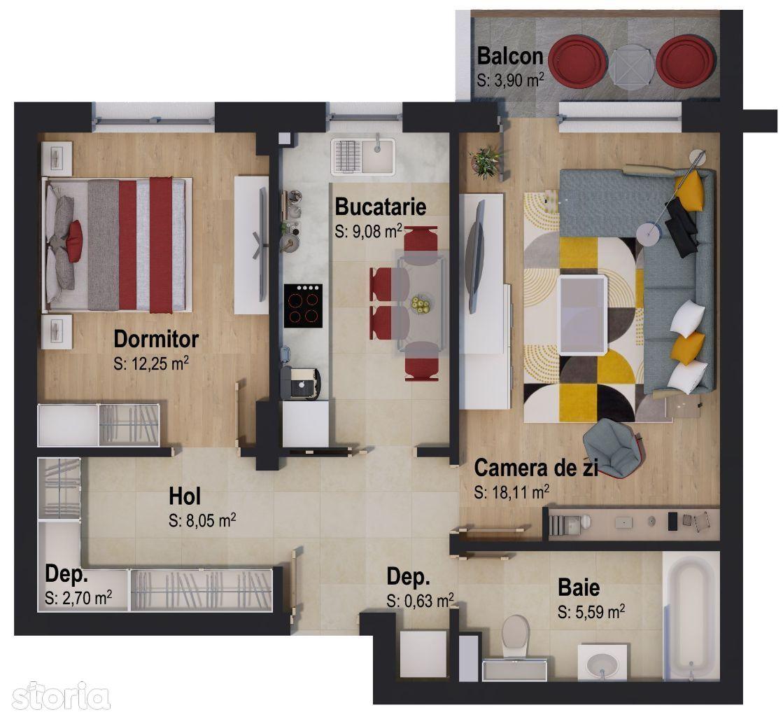 Apartament cu 2 camere Victory