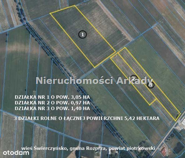 3 działki rolne / gmina Rozprza / wieś Świerczyńsk