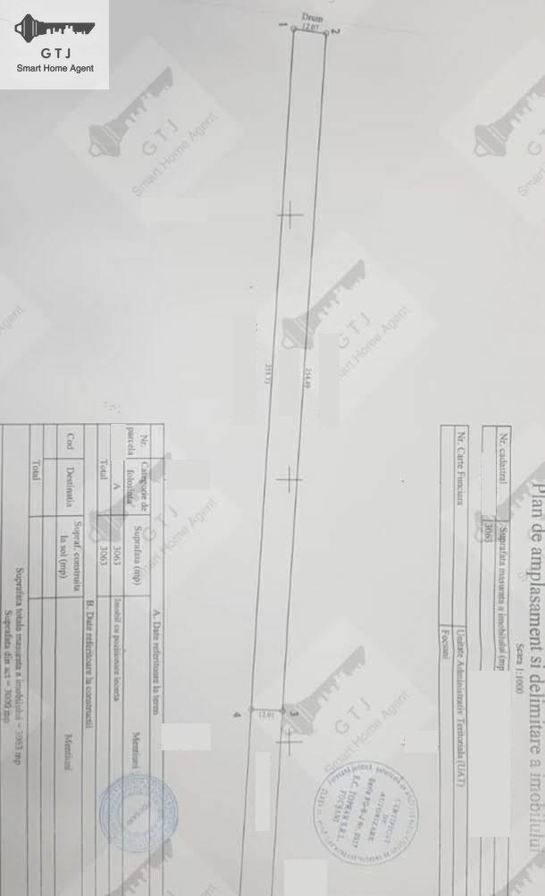 Teren Focsani Obor Intravilan cca 3060 mp 11eur/mp
