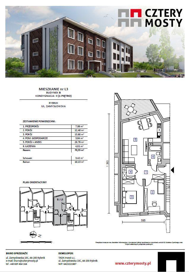 *** Nowe mieszkanie 70,55 m2 z tarasem, 3 pokoje *