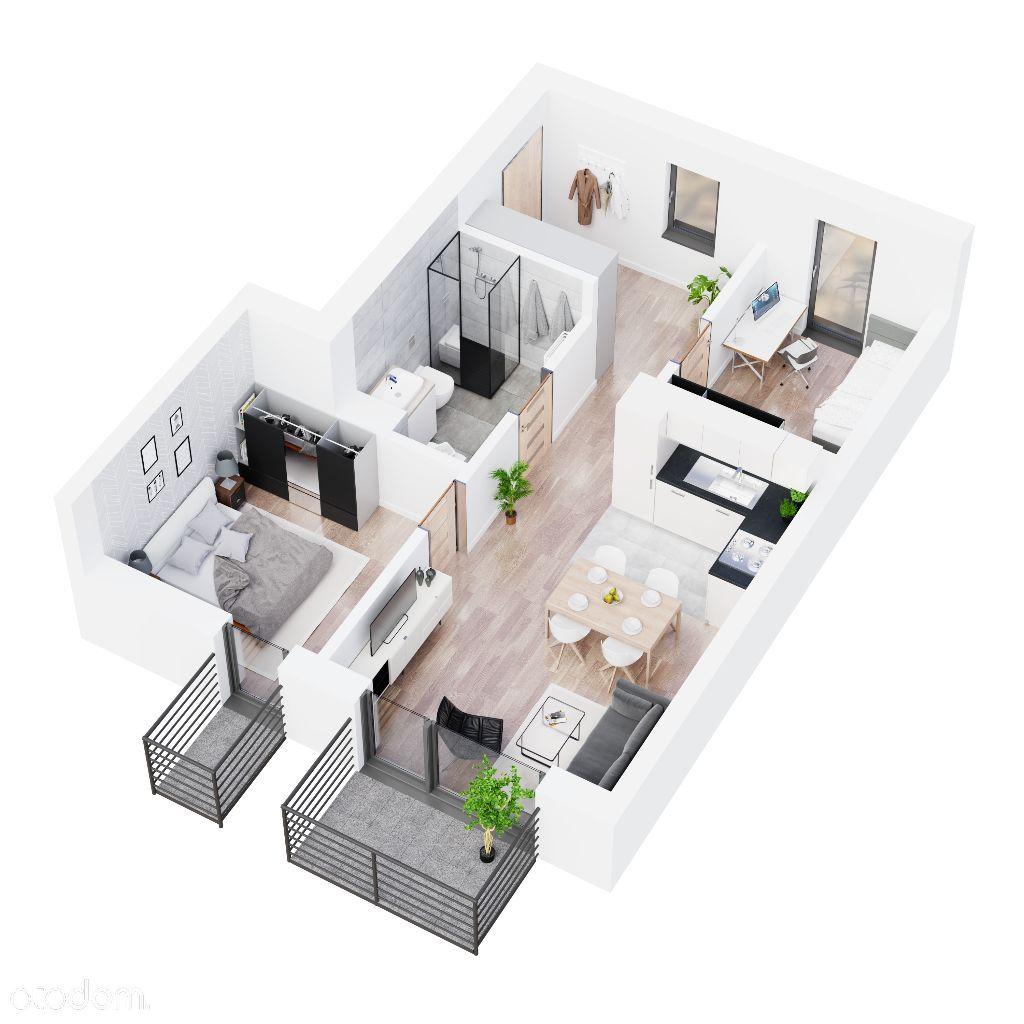 Mieszkanie z balkonami 3 pokoje