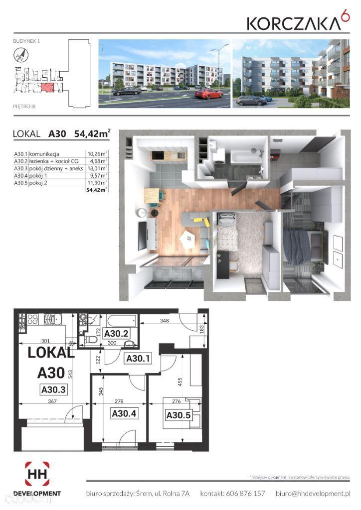 Funkcjonalne 3-pok , balkon Korczaka M/A30