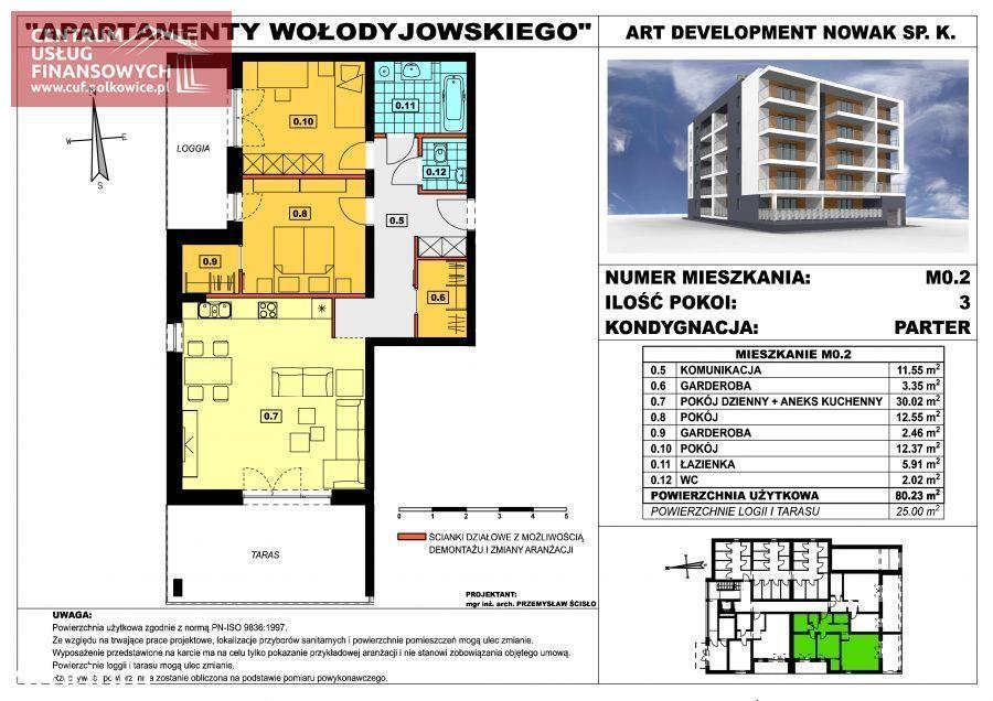Nowe budownictwo 80,23 m2, Wołodyjowskiego, Polk