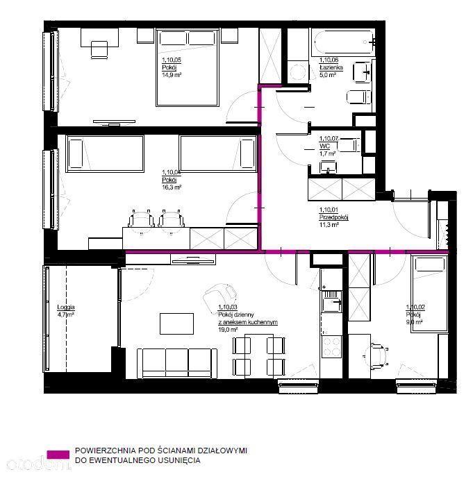 Czteropokojowe mieszkanie 78,8m2, Wrotków