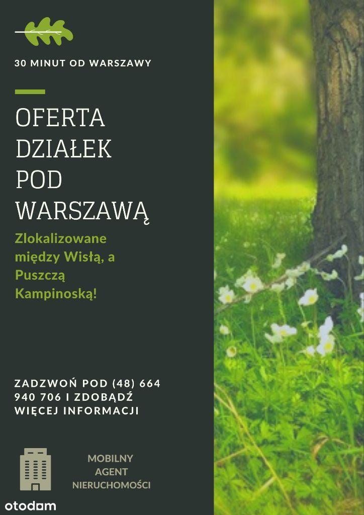 DZIAŁKI BUDOWLANE - 24 km od granicy Warszawy!