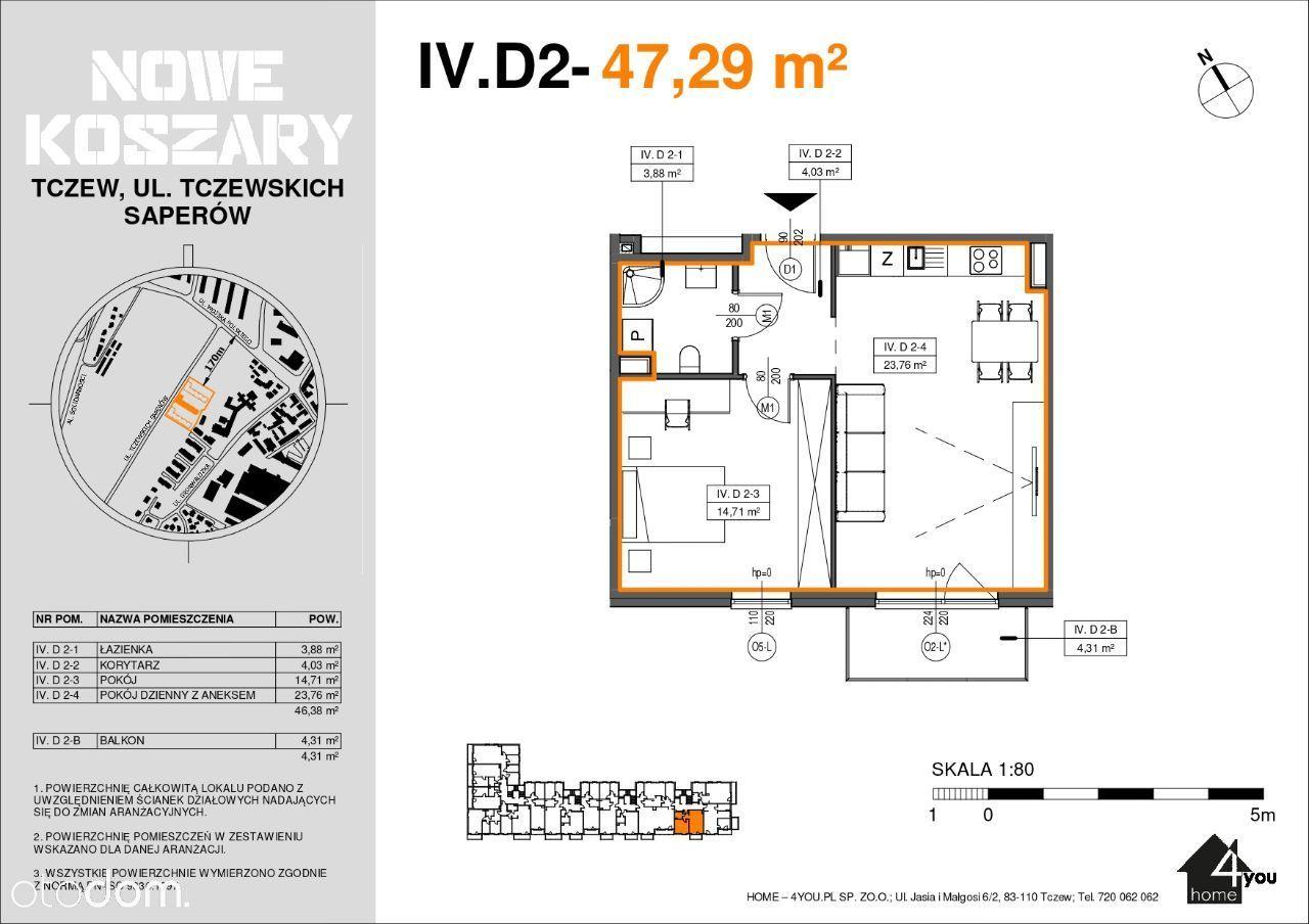 4D2 Etap II Dwupokojowe mieszkanie z balkonem