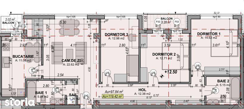 4 camere   Aparatment spatios + balcon   97,84 m² utili DEZVOLTATOR