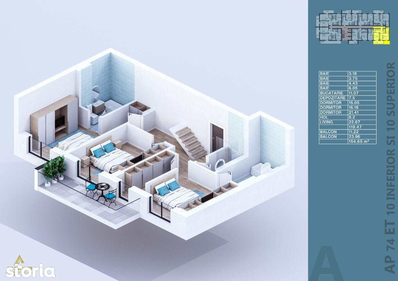 Penthouse Duplex, 4 camere, vanzare, finisaje premium, Titan