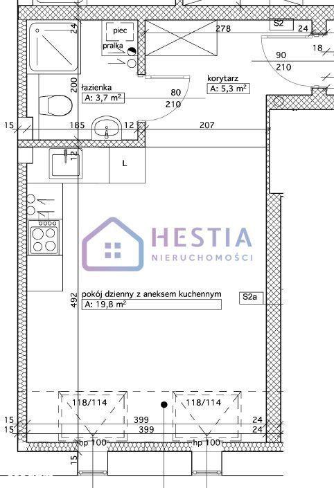 Mieszkanie, 28,80 m², Szczecin