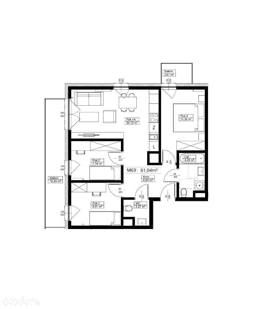 4 pokoje - KAŻDY z dostępem do balkonu - M69