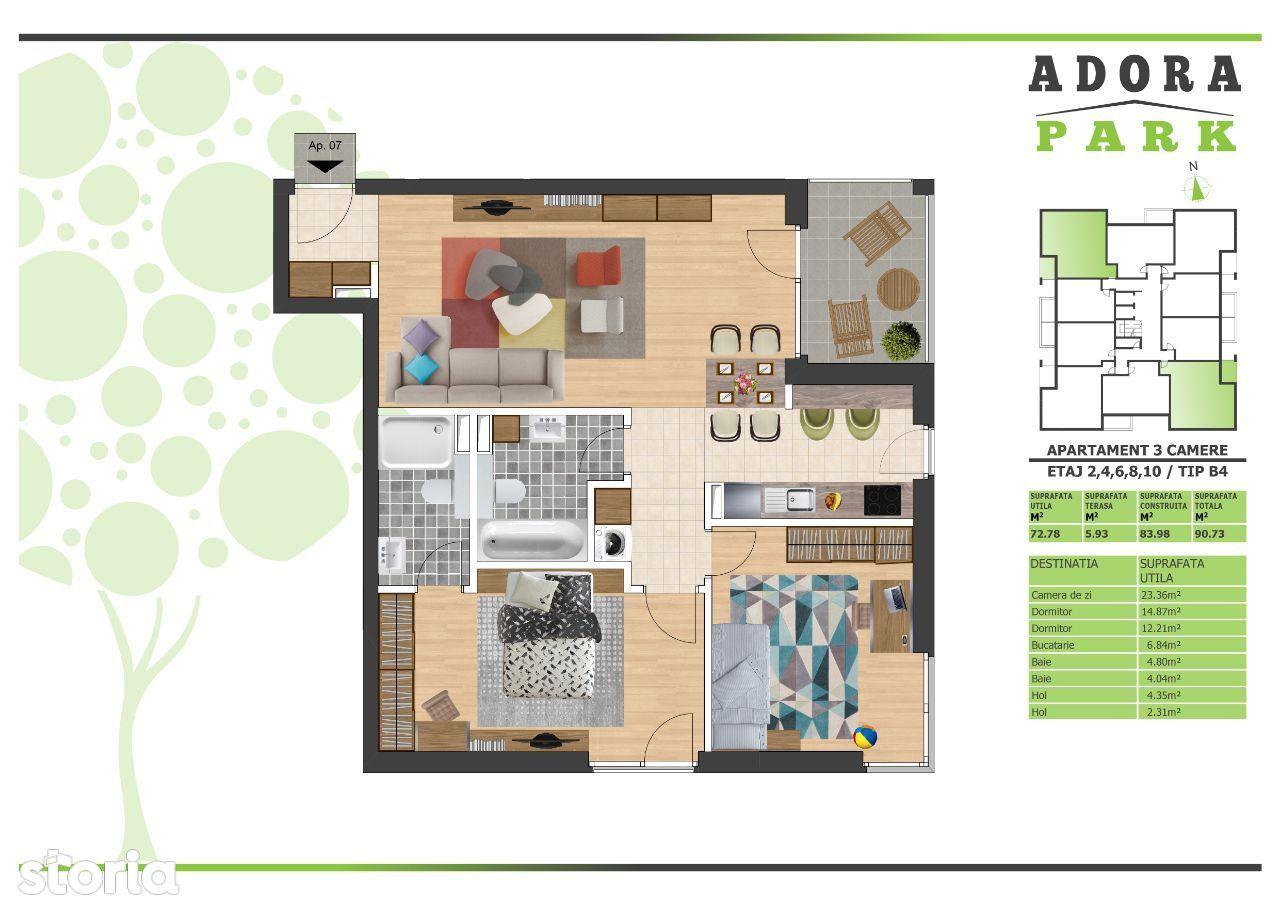 Apartament 3 camere tip B4 finisat la cheie