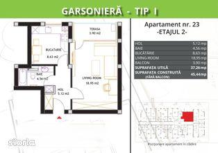 Apartament, 45,44 m²,