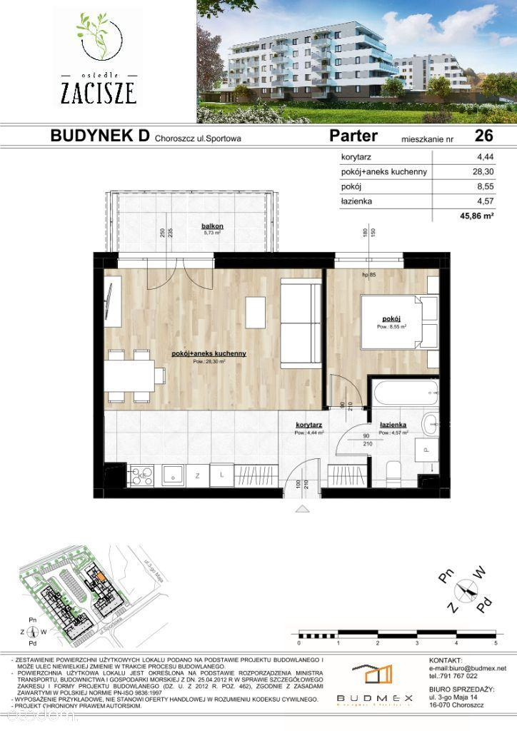 Osiedle Zacisze mieszkanie 2 pokojowe balkon