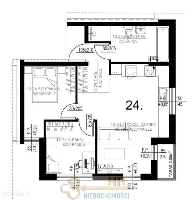 Mieszkanie, 51,92 m², Marki