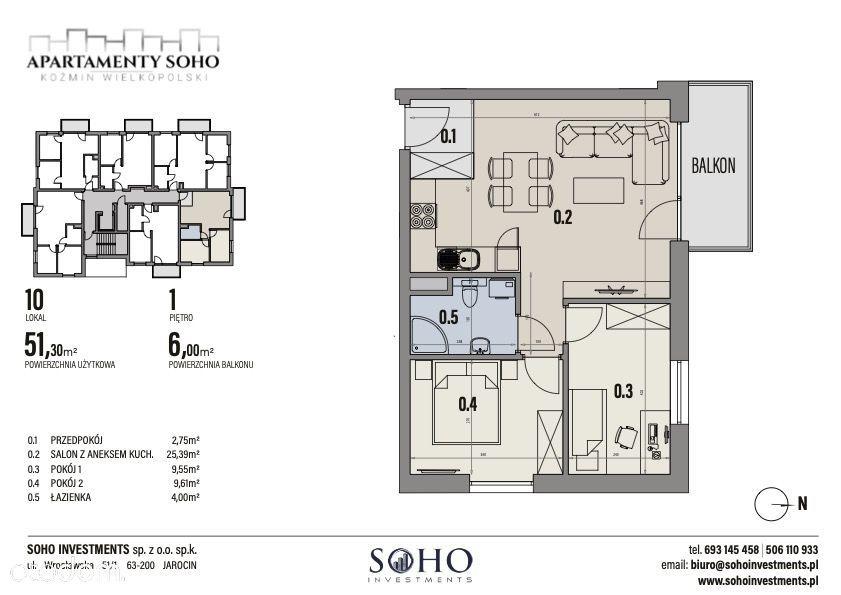mieszkanie 51,30 m2 3-pokoje Apartamenty SOHO Kożm