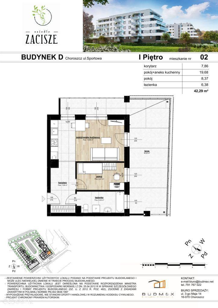 Osiedle Zacisze mieszkanie 2 pokoje DUŻY TARAS