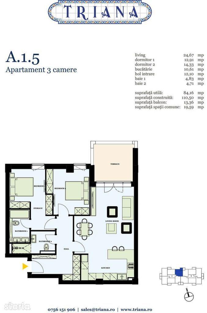 Apartament 3 camere cu un loc de parcare in complex Triana