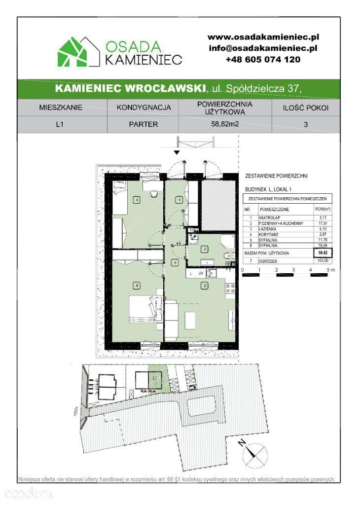 lokal L1, pow. 59m2, 3 pokoje, duży ogród