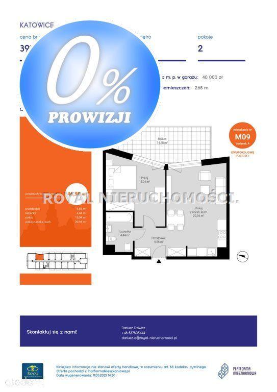 Mieszkanie, 46,98 m², Katowice