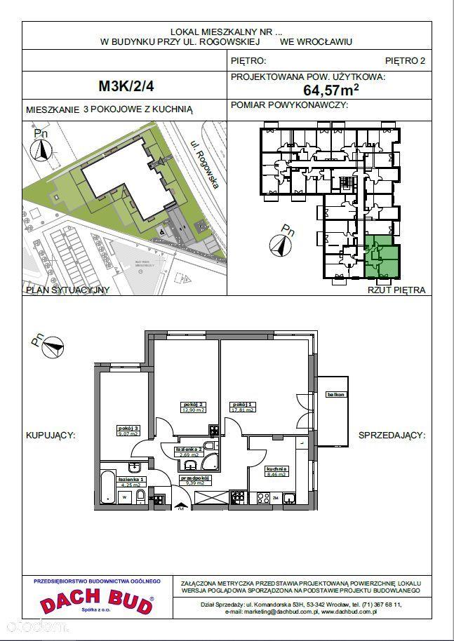 3-pokoje, 2 łazienki, rozkładowe, Rogowska 151