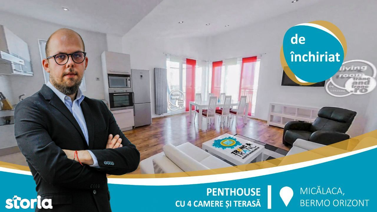 Penthouse superb cu 4 camere si terasa cu vedere catre Parcul Orizont