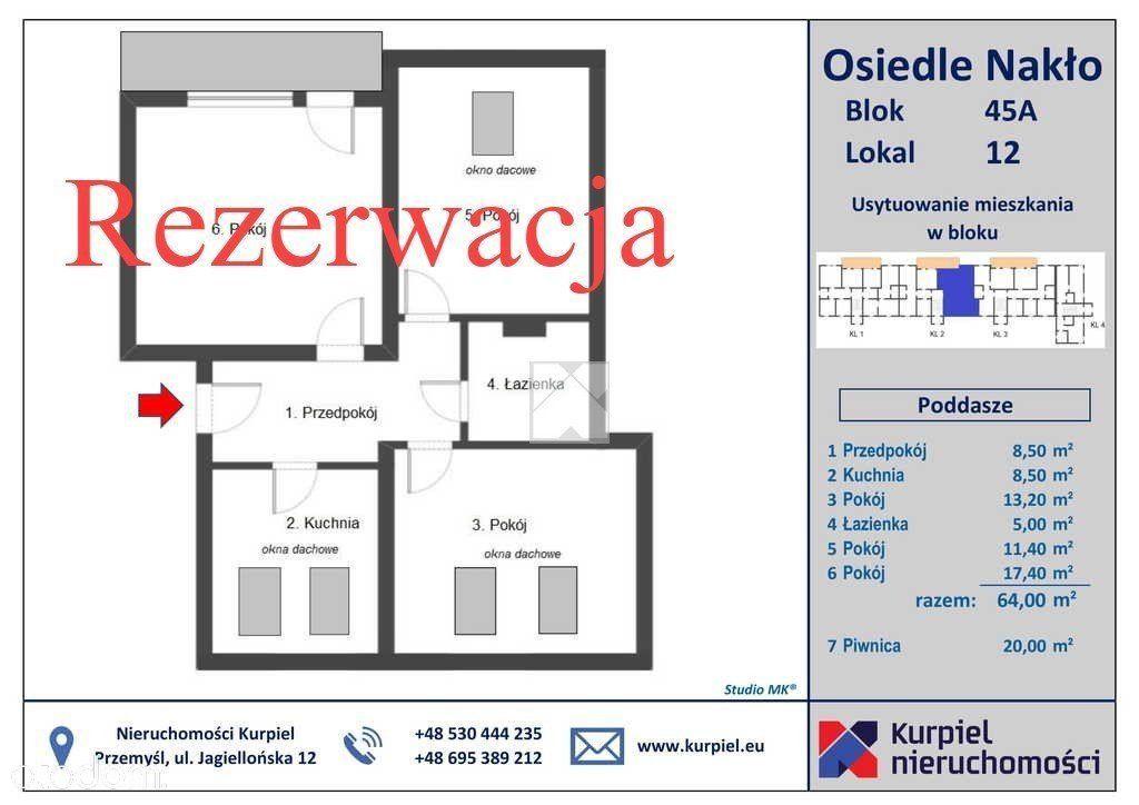 Mieszkanie, 64 m², Nakło