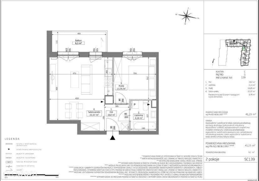 Na Sprzedaz 41 M2 2 Pokoje 5 Piętro Grunwald
