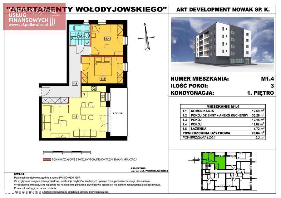 Nowe budownictwo 70,84 m2, Wołodyjowskiego, Polk